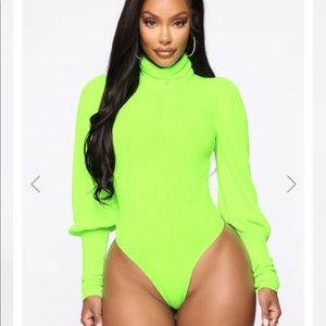 Thinking About You neon green bodysuit